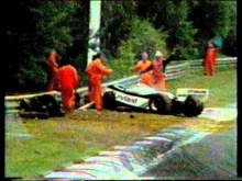 Alan Jones crashes 1981 Belgium Formula 1 grand prix