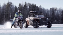 UTV vs Motorbike ON ICE